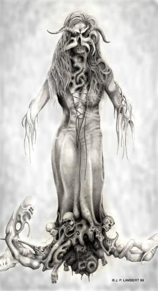 Devilish Drawing - Fem Hell by J P Lambert