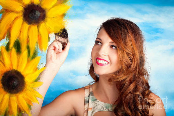 Redhead Photograph - Female Artist Drawing Sun Flowers During Summer by Jorgo Photography - Wall Art Gallery