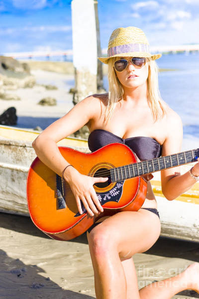 Busker Wall Art - Photograph - Female Beach Singer And Guitarist by Jorgo Photography - Wall Art Gallery