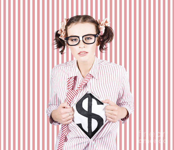 Photograph - Female Business Superhero Showing Dollar Sign by Jorgo Photography - Wall Art Gallery