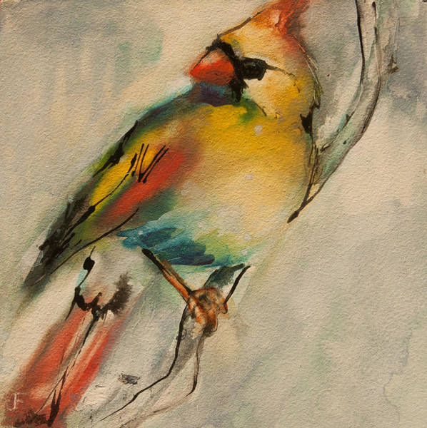 Painting - Female Cardinal 1 by Jani Freimann