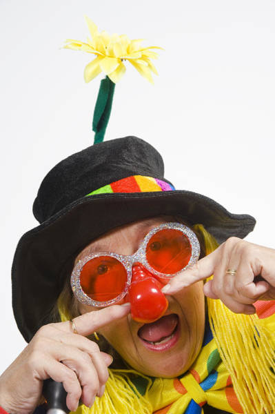 Pokes Wall Art - Photograph - Female Clown On White Background by Shelley Dennis