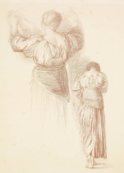 Drawing - Female Drapery Studies by Edward Burne-Jones