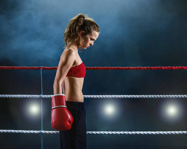 Kickboxing Photograph - Female Fighter Concentrating Before Fight by Ruurd Dankloff