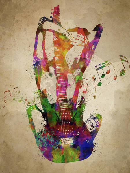 Wall Art - Digital Art - Female Guitarist by Aged Pixel