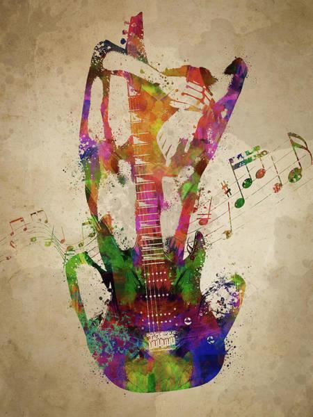 Bass Guitar Digital Art - Female Guitarist by Aged Pixel