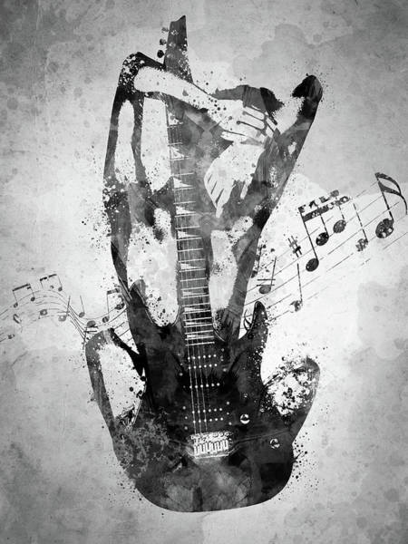 Music Lyrics Digital Art - Female Guitarist White And Black by Aged Pixel
