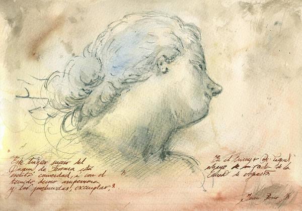 Nude Female Painting - Female Head Study by Juan Bosco