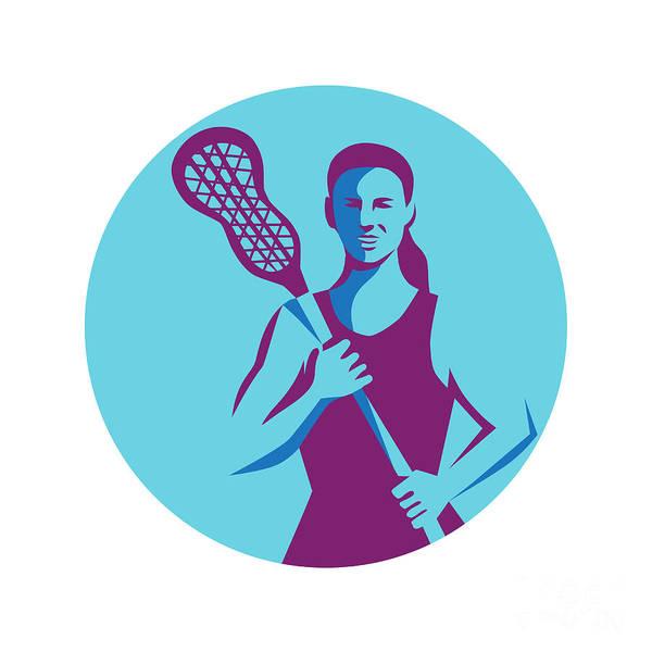 Lax Digital Art - Female Lacrosse Player Stick Circle Retro by Aloysius Patrimonio