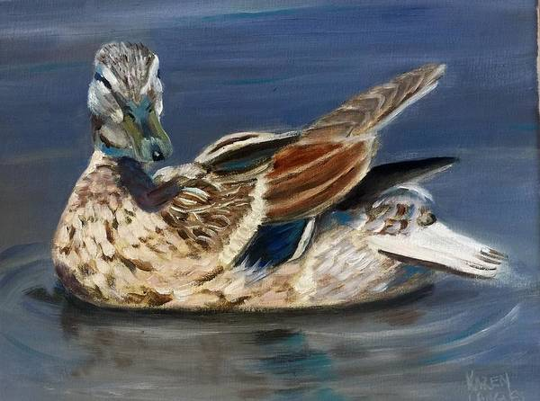 Wall Art - Painting - Female Mallard by Karen Langley