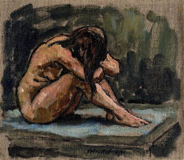 Painting - Female Nude At Rest Original Oil Painting, Small 7x8 Realist Oil On Canvas by Thor Wickstrom