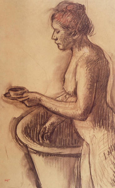 Saucer Drawing - Female Nude  by Edgar Degas