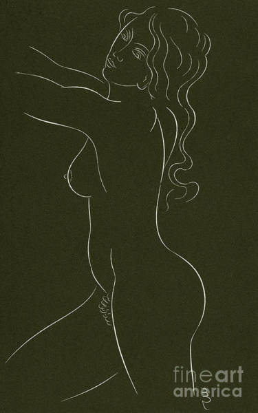 Attractive Drawing - Female Nude by Eric Gill