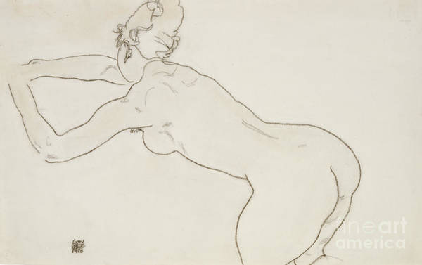Nudity Painting - Female Nude Kneeling And Bending Forward To The Left by Egon Schiele