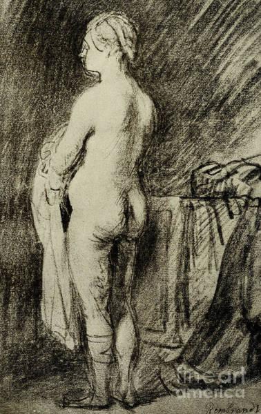 Intimate Portrait Wall Art - Pastel - Female Nude by Rembrandt Harmensz van Rijn