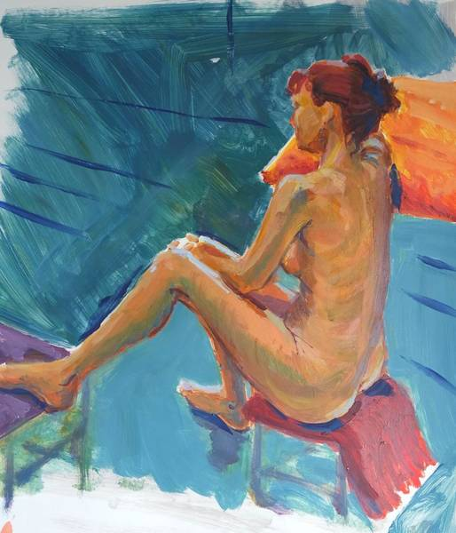Painting - Female Nude Sitting Side View by Mike Jory