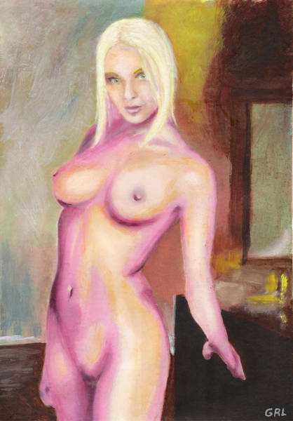 Painting - Female Nude Taxha Standing Original Multimedia Acrylic Oil Painting by G Linsenmayer