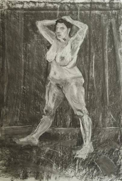 Drawing - Female Nude Using Chalk And Charcoal by Mike Jory