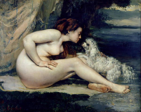 Naked Woman Painting - Female Nude With A Dog by Gustave Courbet