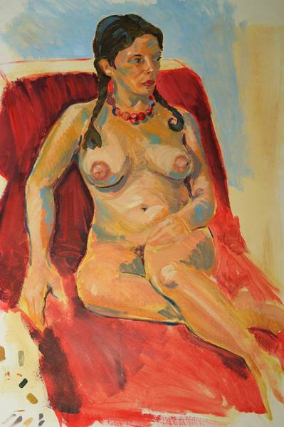 Painting - Female Nude With Brown Hair Plaited Wearing A Red Necklace by Mike Jory