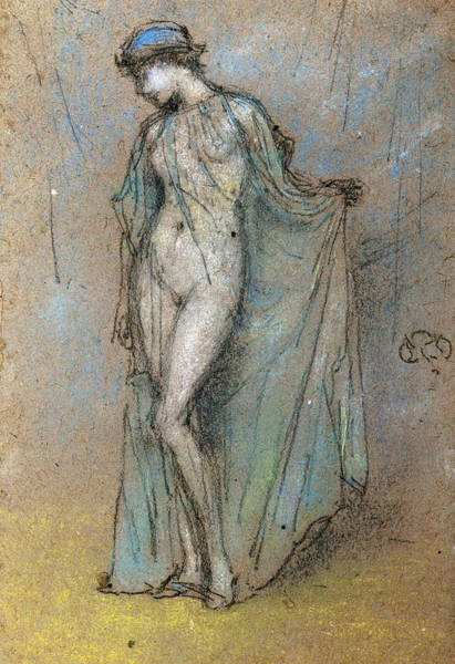 Perfect Body Painting - Female Nude With Diaphanous Gown by James Mcneill Whistler