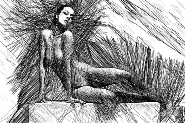 Digital Art - Female Pose For Studio Drawing 1447 by Rafael Salazar