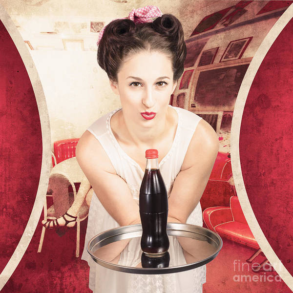 Photograph - Female Postcard Pinup Girl In 60s Restaurant by Jorgo Photography - Wall Art Gallery