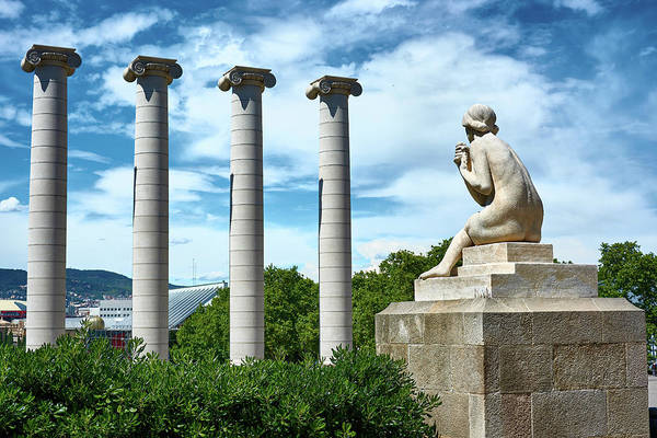Photograph - Female Sculpture And Four Columns In Barcelona by Fine Art Photography Prints By Eduardo Accorinti