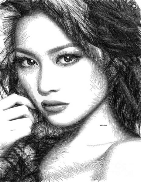 Digital Art - Female Sketch 1275 by Rafael Salazar