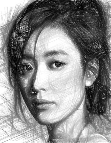 Digital Art - Female Sketch Expression by Rafael Salazar