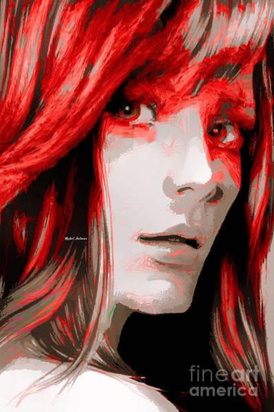 Digital Art - Female Sketch In Red by Rafael Salazar
