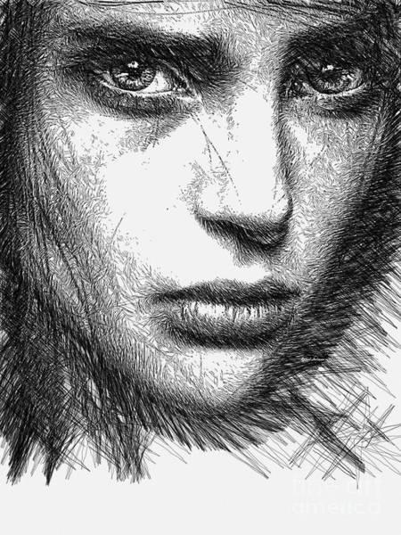 Digital Art - Female Sketch  by Rafael Salazar