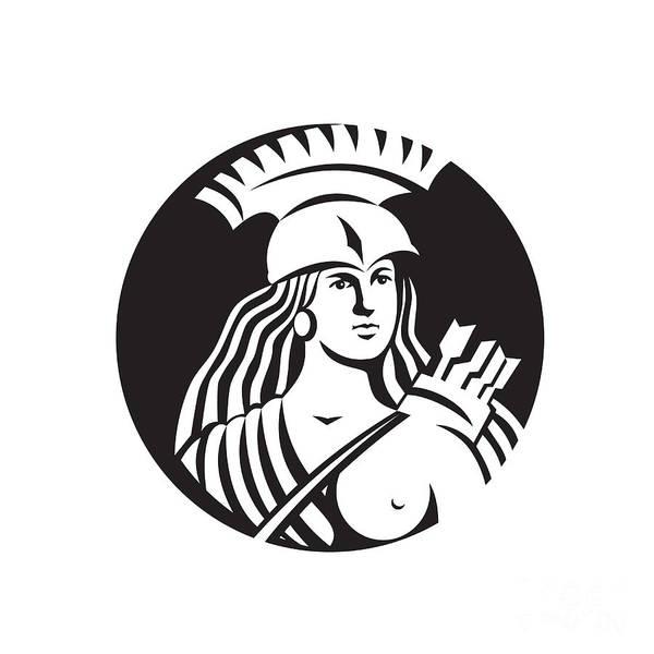 Wall Art - Digital Art - Female Spartan Warrior Circle Black And White by Aloysius Patrimonio
