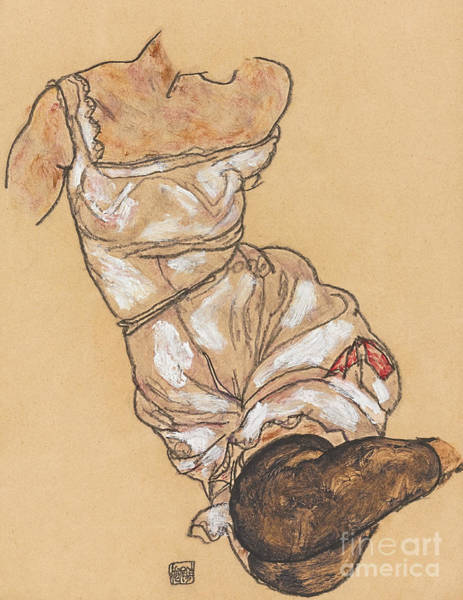 Crayon Drawing - Female Torso In Lingerie And Black Stockings by Egon Schiele