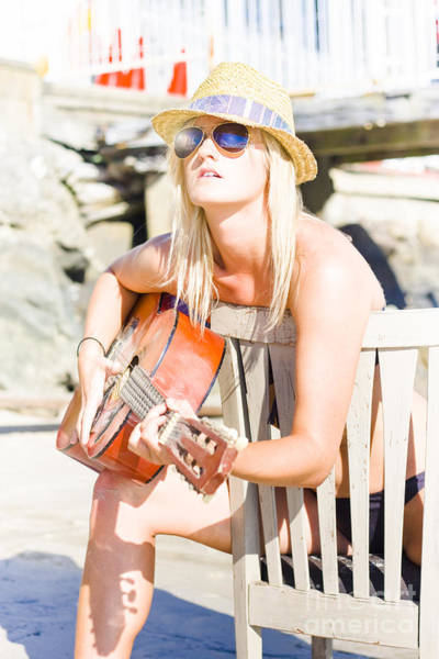 Talent Photograph - Female Traveling Guitarist Playing Music by Jorgo Photography - Wall Art Gallery