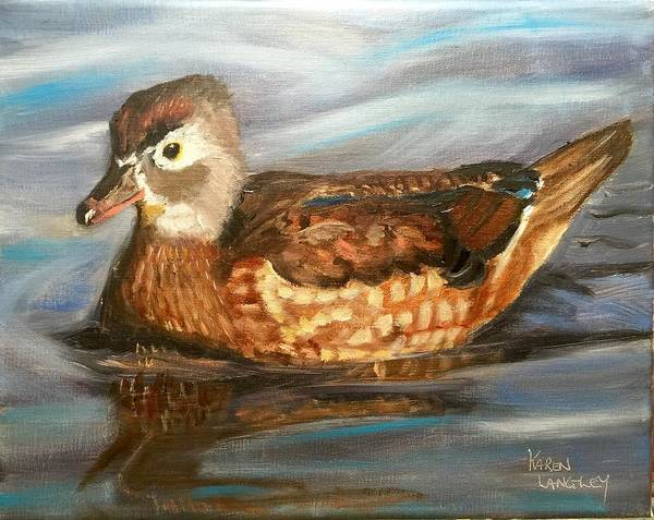 Wall Art - Painting - Female Wood Duck by Karen Langley