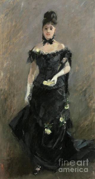 Wall Art - Painting - Femme En Noir Or Avant Le Theatre, 1875  by Berthe Morisot