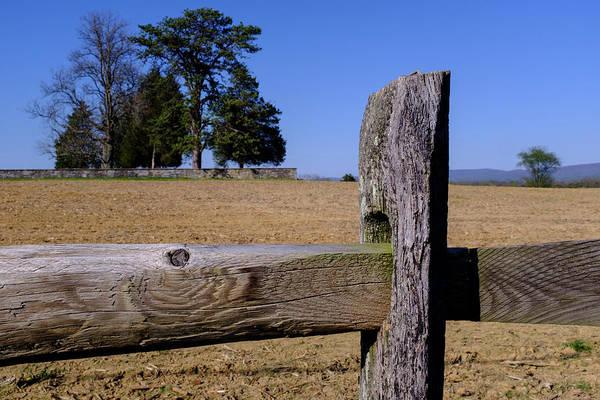 Fence And Farm On A Civil War Battlefield In Antietam Creek Mary Art Print