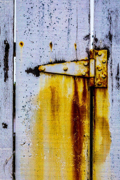 Wall Art - Photograph - Fence Hinge Rusting by Garry Gay