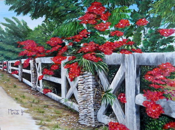 Painting - Fence Line by Marilyn McNish