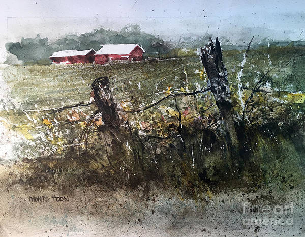Painting - Fence Line by Monte Toon