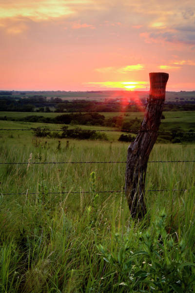 Photograph - Fence Post At Sunset by Scott Bean
