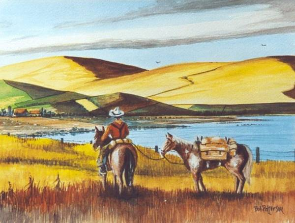 Horsemanship Painting - Fence Rider Going Home by Bob Patterson