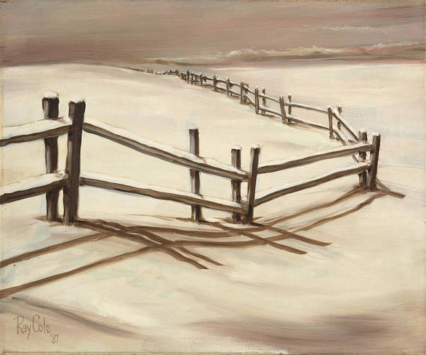 Endless Painting - Snowy Fence Forever by Ray Cole