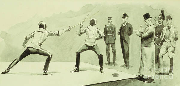 Gentleman Drawing - Fencing At Dickel's Academy by Frederic Remington