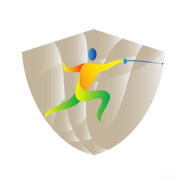 Sportsman Digital Art - Fencing Side Shield Retro by Aloysius Patrimonio