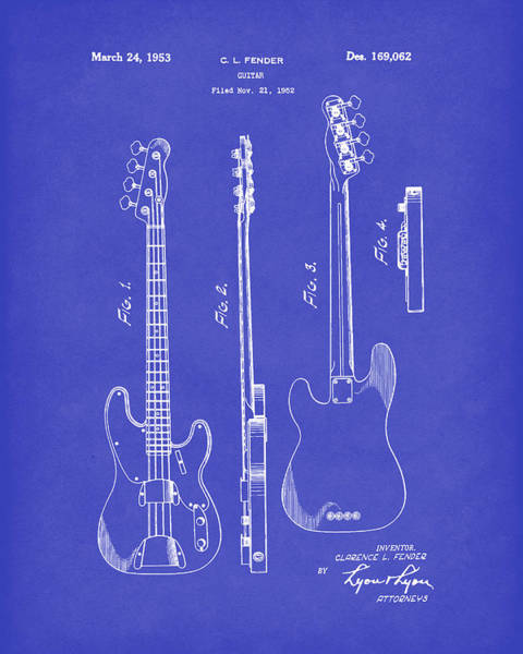 Drawing - Fender Bass Guitar 1953 Patent Art Blue Dark by Prior Art Design