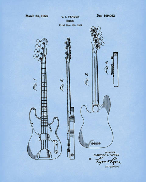 Drawing - Fender Bass Guitar 1953 Patent Art Blue2 by Prior Art Design