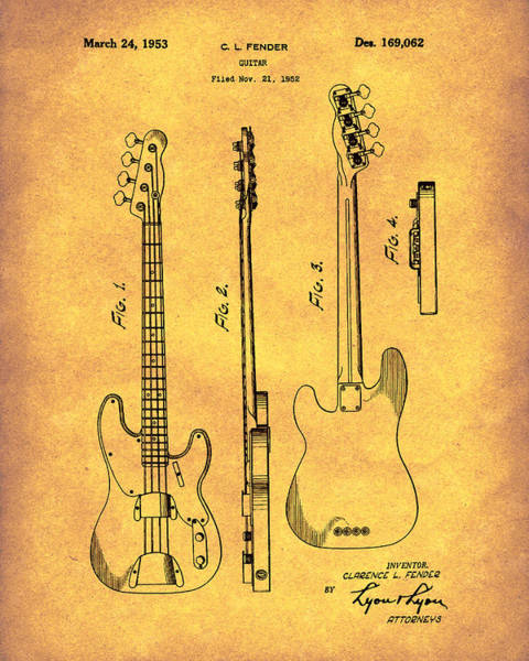 Drawing - Fender Bass Guitar 1953 Patent Art Gold by Prior Art Design