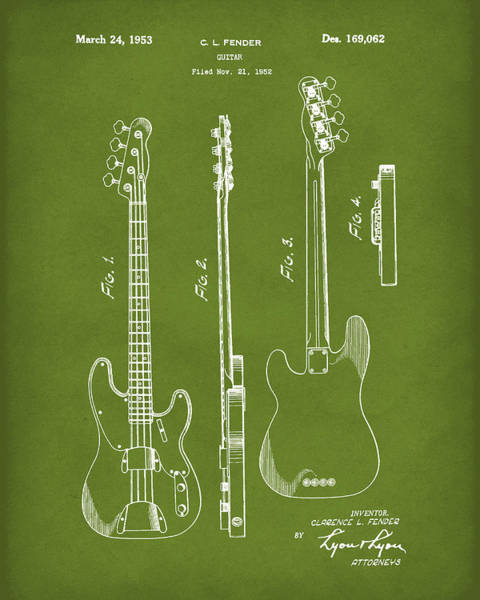 Drawing - Fender Bass Guitar 1953 Patent Art Green by Prior Art Design